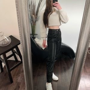 Zara faux leather mom fit pants size 2 nwot